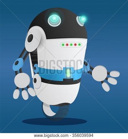 Robotic Creature With Hands And Face. Character Of Future, Personage With Panel. Automated Humanoid