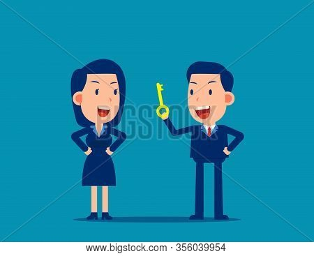 Leaders Talking Guidance For Employee. Instruction Concept. Cute Business Cartoon Vector Design.