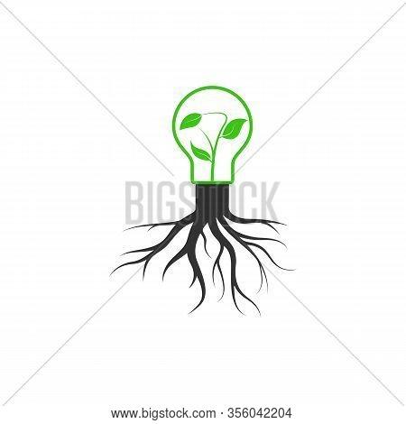 Simple Vector Icon Of Environmental Themes. A Light Bul B Wit H  A Lea F Sprout Grow S Fro M A Tre E