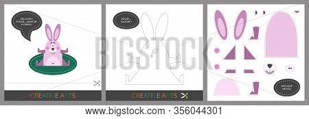 Fun Lessons For Kids. Set Of Cards For Child Creativity. Original Funny Rabbit , Template For Charac