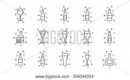 Beer Drinks, Wine Glass And Whiskey Bottle. Bottles Line Icons. Champagne Linear Icon Set. Geometric