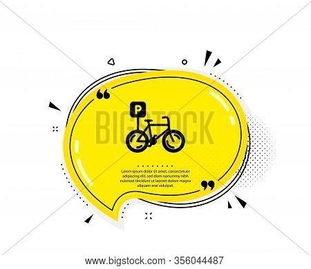 Bicycle Parking Icon. Quote Speech Bubble. Bike Park Sign. Public Transport Place Symbol. Quotation