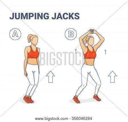 Jumping Jacks Exercise Girl Workout Silhouettes Illustration.
