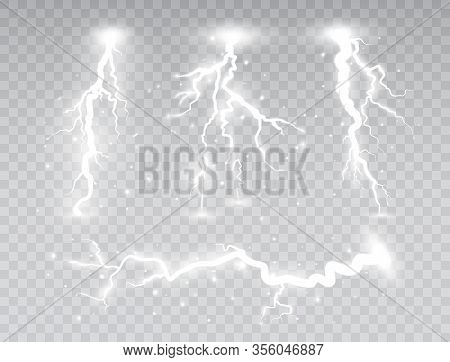 White Lightnings Set Isolated On Transparent Background. Thunder Storm Collection Design Elements. M