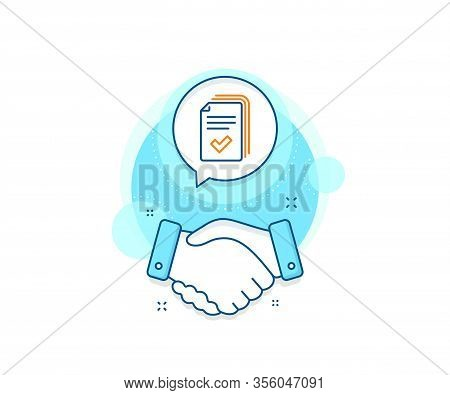 Documents Example Sign. Handshake Deal Complex Icon. Handout Line Icon. Agreement Shaking Hands Bann