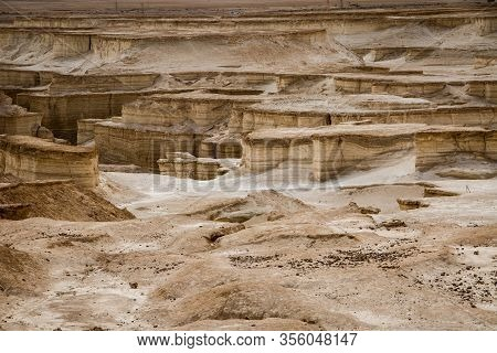 Interesting Landscape Between Dead Sea And Masada Fortress In Israel
