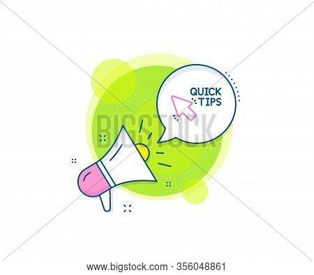 Helpful Tricks Sign. Megaphone Promotion Complex Icon. Quick Tips Click Line Icon. Business Marketin