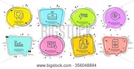 Histogram, Quickstart Guide And Read Instruction Signs. Speech Bubbles With Quotes. Dollar Exchange,