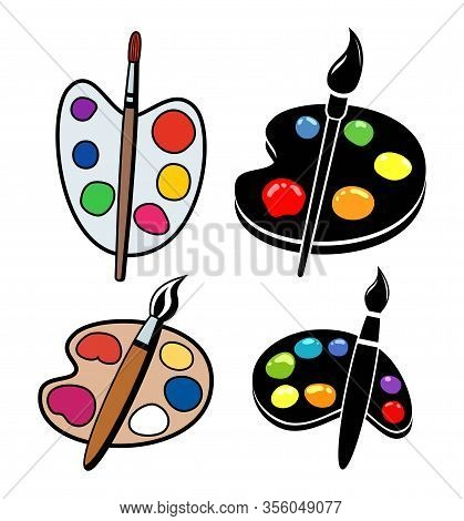 Vector Collection Of Wooden Art Palettes With Blobs Of Paint And Brushes Isolated On White Backgroun