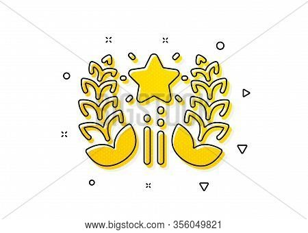 Laurel Wreath Star Star Sign. Ranking Icon. Best Rank Symbol. Yellow Circles Pattern. Classic Rankin
