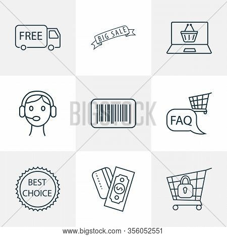 Ecommerce Icons Line Style Set With Secure Shopping, Barcode, Payments Option And Other Identificati