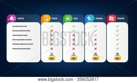 Refill Water, Coffee Cup And Buildings Icons Simple Set. Price List, Pricing Table. Pay Money Sign.
