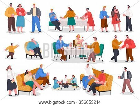 Men And Women Have Dinner, Party In Restaurant Or At Home. Friends And Family Meeting With Food And