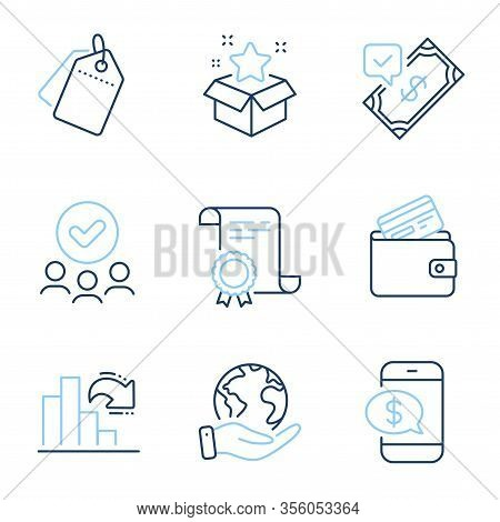 Sale Tags, Accepted Payment And Loyalty Program Line Icons Set. Diploma Certificate, Save Planet, Gr