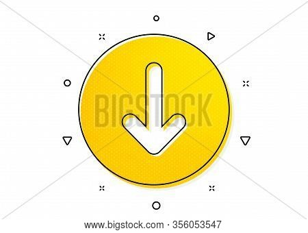 Scrolling Screen Sign. Scroll Down Button Icon. Swipe Page. Yellow Circles Pattern. Classic Scroll D