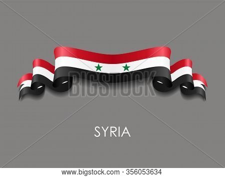 Syrian Flag Wavy Ribbon Background. Vector Illustration.