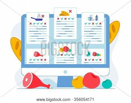 Food Products Pros And Cons Flat Illustration. Website On Healthy Nutrition Rules. Harmful And Healt