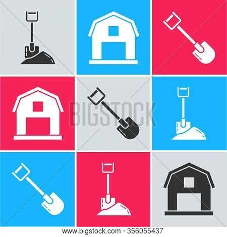 Set Shovel In The Ground, Farm House Concept And Shovel Icon. Vector