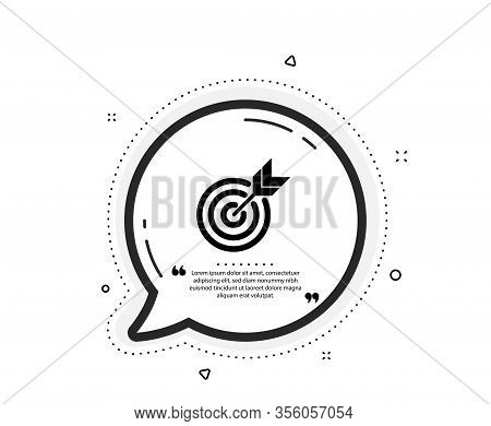 Target Icon. Quote Speech Bubble. Marketing Targeting Strategy Symbol. Aim With Arrows Sign. Quotati