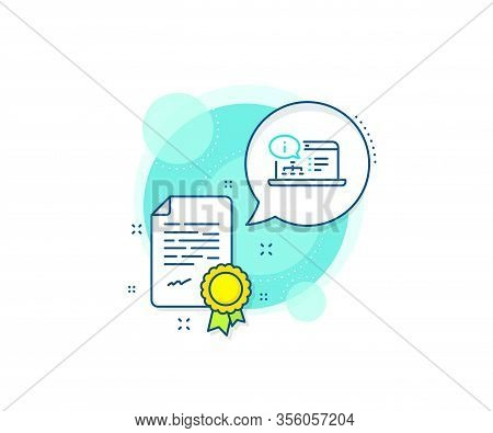 Technical Instruction Sign. Certification Complex Icon. Online Documentation Line Icon. Certificate