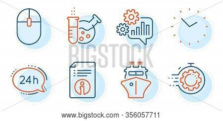 Time, Ship And Computer Mouse Signs. Seo Timer, Cogwheel And Chemistry Lab Line Icons Set. 24h Servi