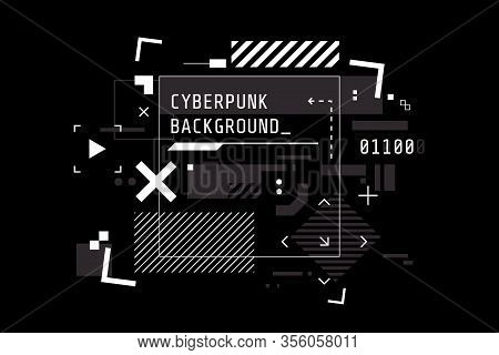 Modern Cyberpunk Background In Black And White Color. Abstract High Tech Banner With Place For Text.