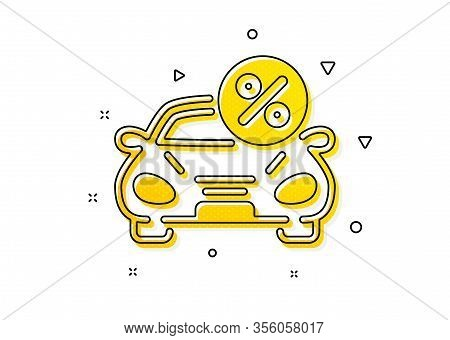 Transport Loan Sign. Car Leasing Percent Icon. Credit Percentage Symbol. Yellow Circles Pattern. Cla
