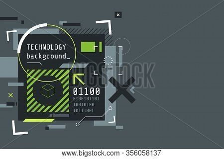 Modern Cyberpunk Background In Grey And Green. Abstract High Tech Banner With Place For Text. Digita
