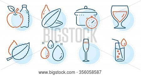 Water Glass, Apple And Water Drop Signs. Mint Leaves, Wine Glass And Boiling Pan Line Icons Set. Sun