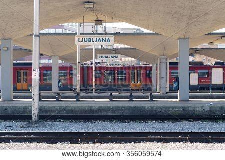 Ljubljana, Slovenia - March 17, 2020: Empty Platform In Ljubljana Train Station With Vacant Benches