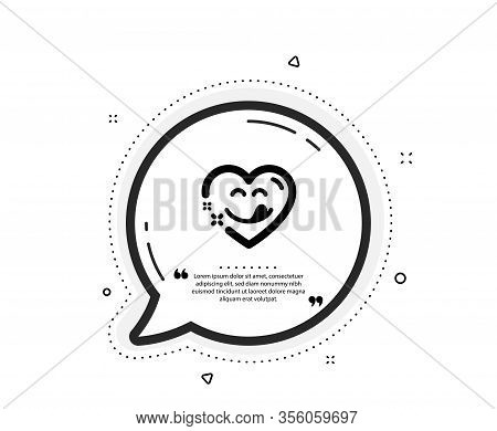 Yummy Smile Icon. Quote Speech Bubble. Emoticon With Tongue Sign. Comic Heart Symbol. Quotation Mark