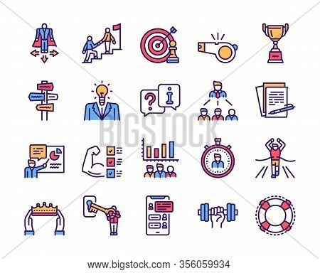 Mentoring Linear Color Icon Set. Coaching, Sport Coach, Mentor And Team Work. Development Concept