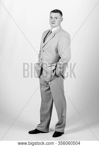 Man Well Groomed Elegant Caucasian Appearance Wear Formal Clothes. Male Fashion Store. Businessman C