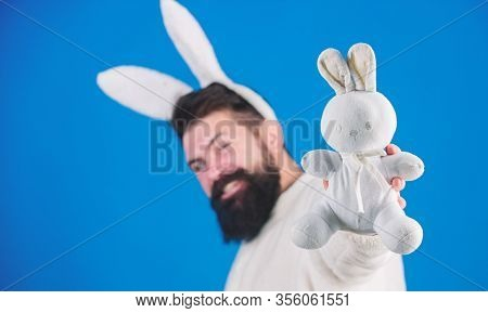 Funny Bunny Man With Beard And Mustache. Easter Symbol Concept. Guy Bearded Hipster Cute Gentle Bunn