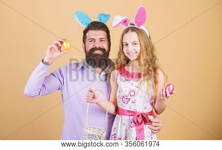 Happy Family. Happy Family Celebrating Easter. Happy Father And Child With Colored Easter Eggs. Fami