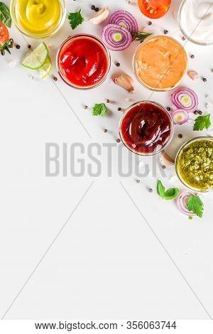 Set Of Sauces In Small Bowls - Ketchup, Mayonnaise, Mustard, Bbq Sauce, Pesto, Classic Burger Sauce,