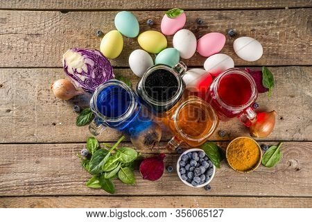 Easter Organic And Zero Waste Concept. Easter Eggs Painted With Natural Egg Dye, Fruits And Vegetabl
