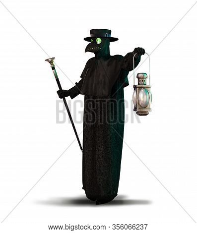 Historic Costume Of Black Death Plague Doctor Schnabel, Isolated On White Background, 3d Render