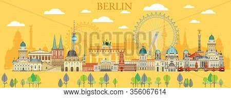 Panoramic Colorful Berlin Travel Illustration With Architectural Landmarks In Summer Yellow Backgrou