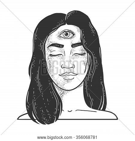 Clairvoyant Girl Woman With Three Eyes Forehead Sketch Engraving Vector Illustration. T-shirt Appare