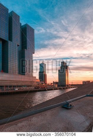 Rotterdam, The Netherlands 12 February 2019 - Picturesque Cityview, With Modern Architecture And Dra