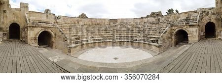 Low Angle And Panoramaview On The Odeon Theatre In Amman, Jordan