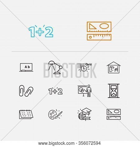 Distant Education Icons Set. Rulers And Distant Education Icons With Math, Desk Lamp And Calendar. S