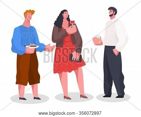Friends Have Conversation, Spending Time Together. Home Reception, Banquet With Food And Drinks. Men