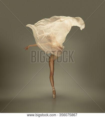 Flower Blossom. Graceful Classic Ballerina Dancing On Grey Studio Background. Tender Beige Cloth. Th