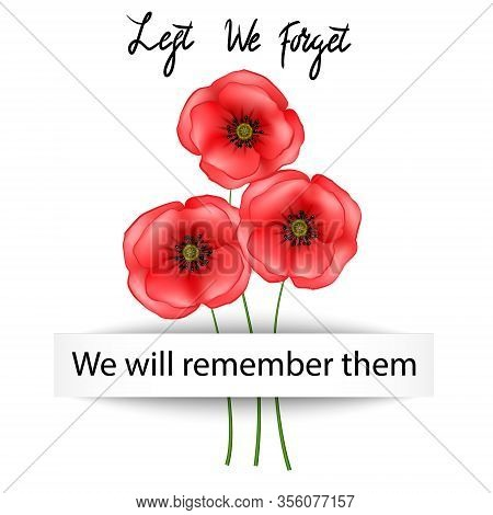 Anzac Day Background With Red Abstract Poppies. Red Poppies Isolated On White Background. Remembranc