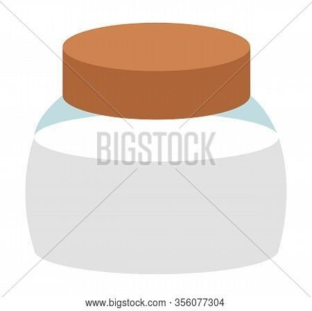 Salt Shaker Or Container For Or Sugar Storage, Isolated Icon. Glass Jar With Lid, Kitchenware With I