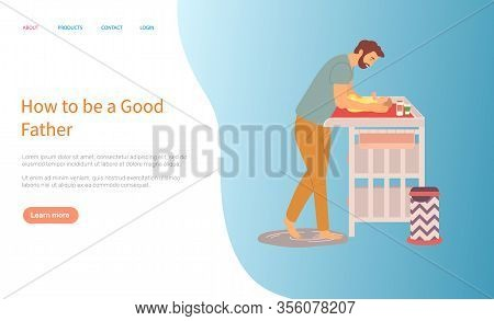Father Changing Diapers Of Newborn Baby Vector, Daddy And Kid Laying On Table, Framed Picture, Famil