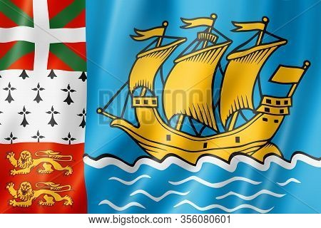 Saint Pierre And Miquelon Flag, Overseas Territories Of France. 3d Illustration