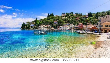 Greek summer holidays - tranquil village Loggos in beautiful Paxos, Ionian island of Greece
